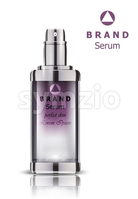 Cosmetics set realistic Vector packaging. Lavender Perfume bottle mock up Stock Vector
