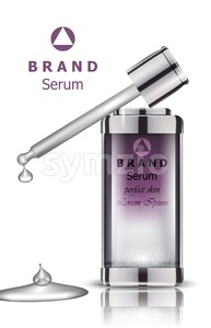 Cosmetics set realistic Vector packaging. Serum bottle mock up Stock Vector
