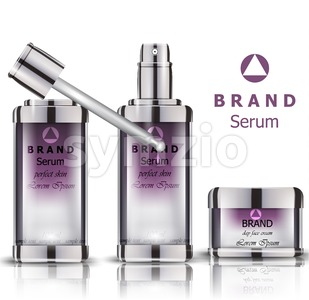Cosmetics set realistic Vector packaging. Day cream, serum product mock up Stock Vector