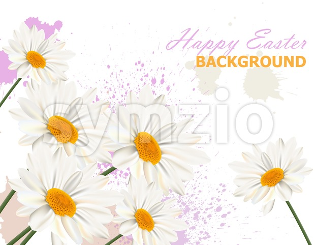 Happy Easter card with chamomile flowers background Vector illustration Stock Vector