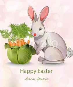 Happy Easter card with rabbit and carrots Vector. Green vase bouquet Stock Vector