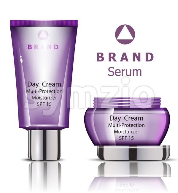 Cosmetics set realistic Vector packaging. Day cream, serum products mock up