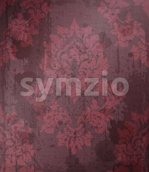 Damask pattern ornament decor Vector. Baroque fabric texture illustration designs. Bordeaux color Stock Vector