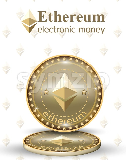 Ethereum coin Vector digital cryptocurrency. Business commerce money chains