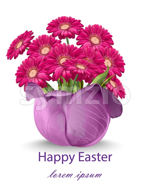 Happy Easter daisy flowers bouquet card Vector. Spring floral beauty Fuchsia color