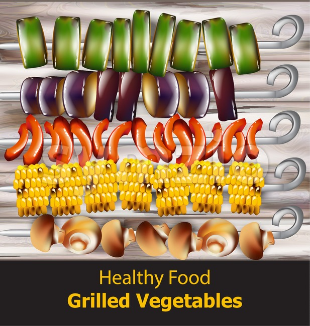 Grilled vegetables vegan kebabs Vector. Healthy food vegetarian style Stock Vector