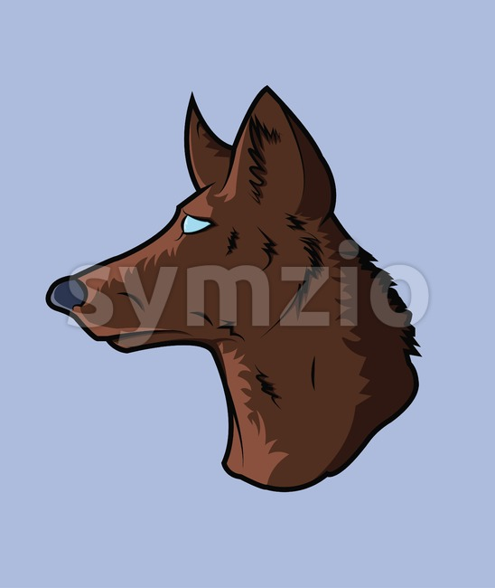 Digital vector vintage illustration head portrait of one brown color dog, flat style