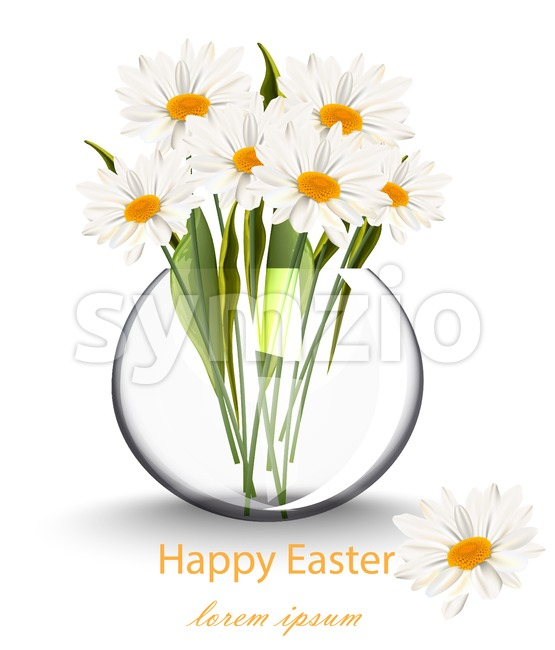 Happy Easter card with chamomile flowers bouquet Vector illustration Stock Vector