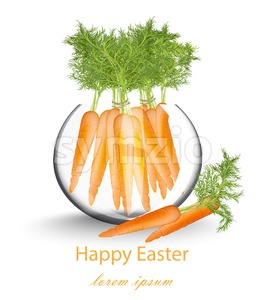 Happy Easter card with carrots in a glass pot Vector illustration Stock Vector