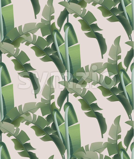 Green tropical leaves Vector pattern background. abstract summer template