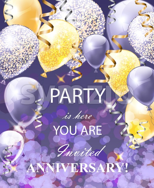Happy Anniversary card with balloons. Festive party background realistic Vector illustration Stock Vector