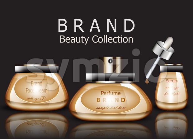 Golden Cosmetics realistic Vector packaging. Day cream, serum product mock up