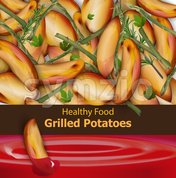 Grilled potatoes background Vector. Menu template realistic illustration Stock Vector