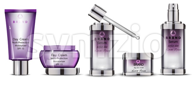 Cosmetics realistic Vector packaging. Day cream, serum collection products mock up