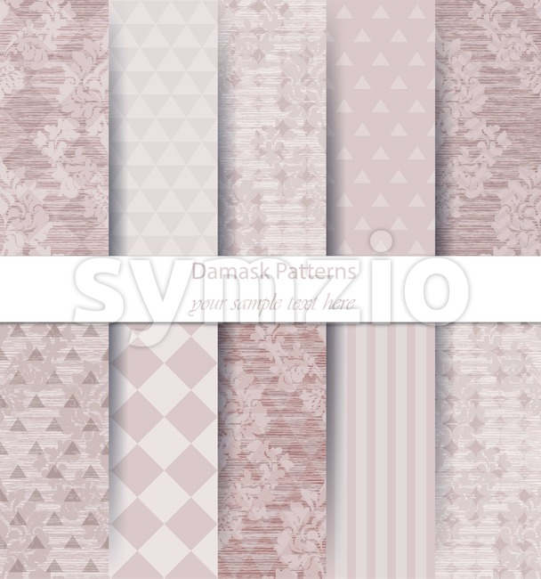 Damask patterns set collection Vector. Baroque ornament on modern abstract background. Vintage decor. Trendy color fabric texture