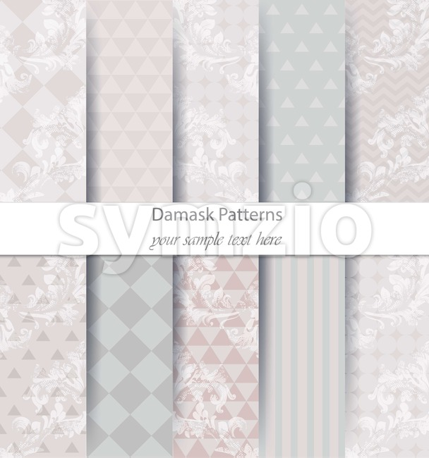 Damask patterns set collection Vector. Baroque ornament with modern abstract elements. Vintage decor. Trendy color fabric texture Stock Vector