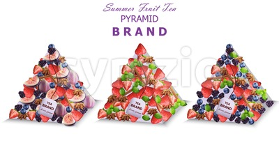 Summer fruits tea packs Vector. Pyramid design fresh fruits mixes Stock Vector