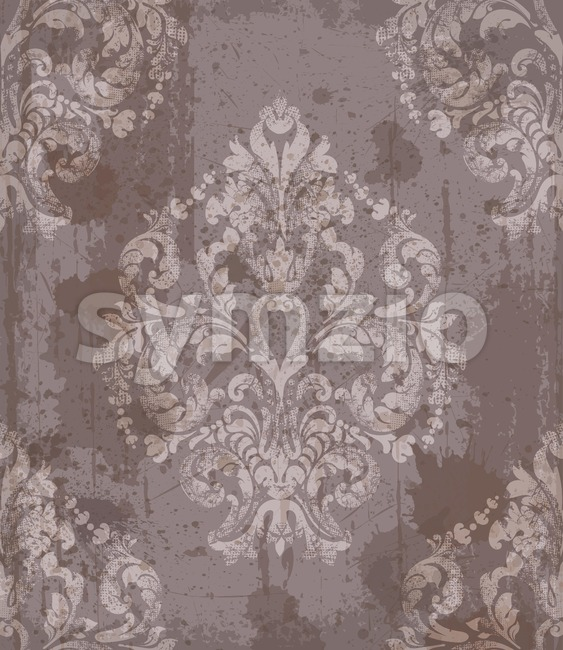 Damask old pattern ornament decor Vector. Baroque fabric texture illustration design