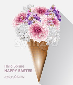 Hello spring flowers bouquet in an ice cream cone. Vector Beautiful composition springtime card Stock Vector