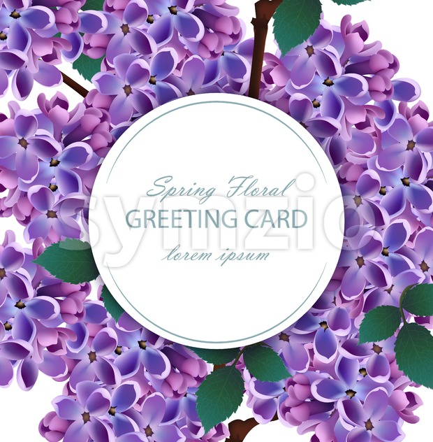 Lilac flowers beautiful round card Vector. Spring floral holiday invitation card Stock Vector