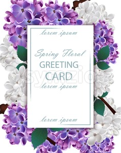 Lilac flowers beautiful card Vector. Spring floral holiday invitation card Stock Vector