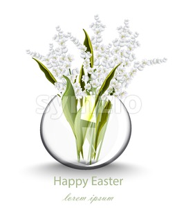 Happy Easter card with lily of the valley floral bouquet. Vector holiday illustration Stock Vector