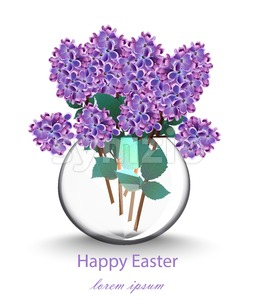 Lilac flowers beautiful bouquet Vector. Spring floral holiday card Stock Vector