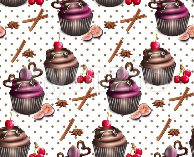 Chocolate cupcakes pattern Vector. Retro vintage background Stock Vector