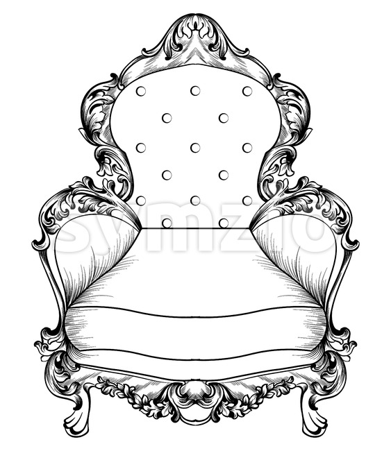 Baroque armchair with luxurious ornaments. Vector French Luxury rich intricate structure. Victorian Royal Style decor Stock Vector