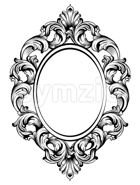 Baroque frame decors. Detailed rich ornament vector illustration graphic line art