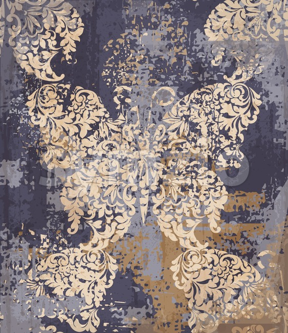 Butterfly decor fabric element background. Vector ornament grunge vintage texture Stock Vector
