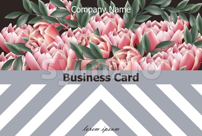 Business card Vintage peony background Vector. Invitation layout illustration Stock Vector