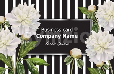 Vintage Business card with white peony flowers on striped background. Vector realistic floral decor, 3d illustration Stock Vector