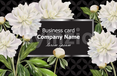Business card with white peony flowers. Vector realistic floral decor, 3d illustration Stock Vector