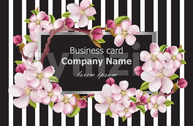 Business card cherry blossom flowers on striped texture. Vector background holiday stylish card Stock Vector