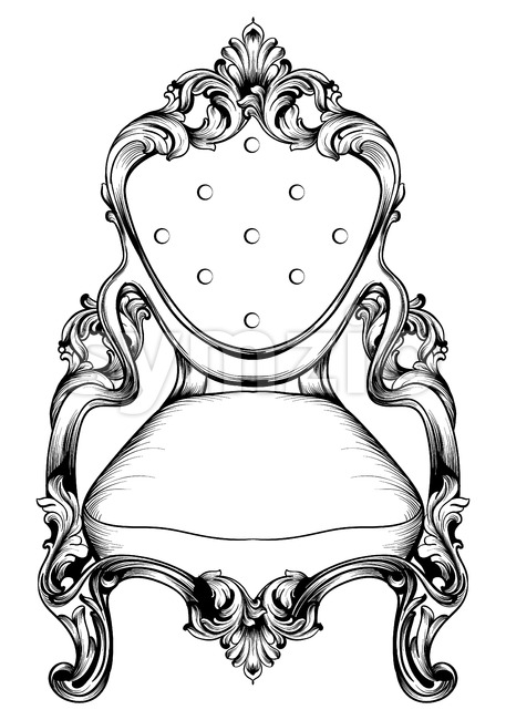 Baroque chair with luxurious ornaments. Vector French Luxury rich intricate structure. Victorian Royal Style decor Stock Vector
