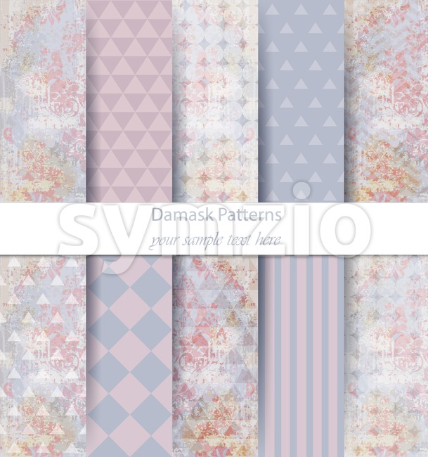 Damask patterns set collection Vector. Baroque ornament on modern abstract background. Vintage decor. Trendy color fabric texture Stock Vector