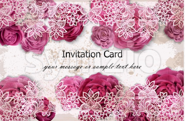 Invitation card with rose flowers and delicate lace decor. Vector illustration Stock Vector