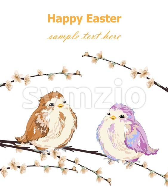 Happy Easter card with Cute Little sparrows pattern Vector. Vintage retro spring background Stock Vector