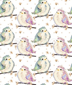Cute Little sparrows pattern Vector. Vintage retro spring background Stock Vector