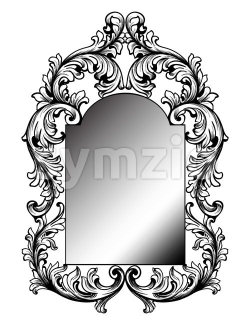 Baroque mirror frame. Vector round decor design elements. Rich encarved ornaments line art Stock Vector