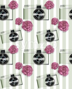 Vintage camera pattern Vector. Abstract background with roses. Detailed 3d illustration Stock Vector