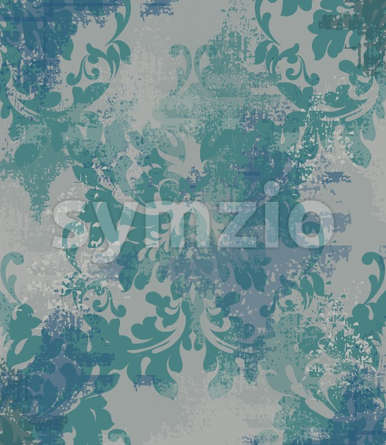 Vector damask pattern element. Classic luxury ornament on grunge background. Royal Victorian texture for wallpapers, textile, fabric, wrapping. Stock Vector