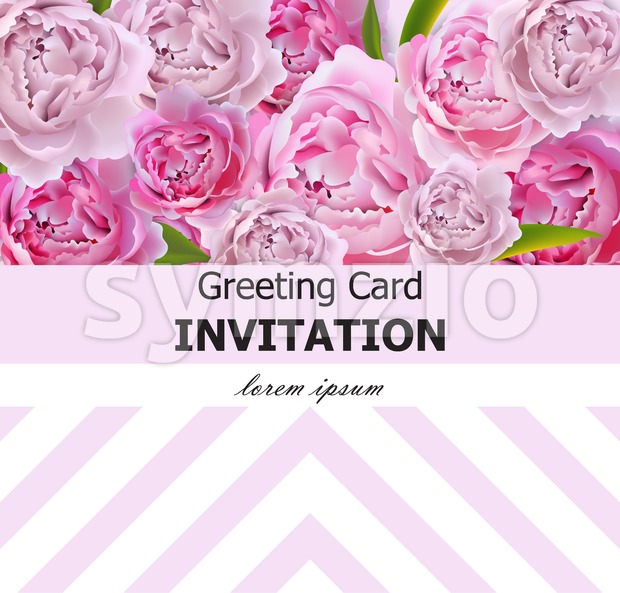 Peony flowers greeting card Vector. Pink flowers with abstract decor. Spring Summer background. Stock Vector