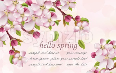 Cherry flowers Spring background Vector. Pink floral branches with place for text Stock Vector