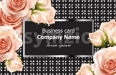 Business card Vector delicate roses floral background. Abstract elements decor. 3d realistic floral design Stock Vector