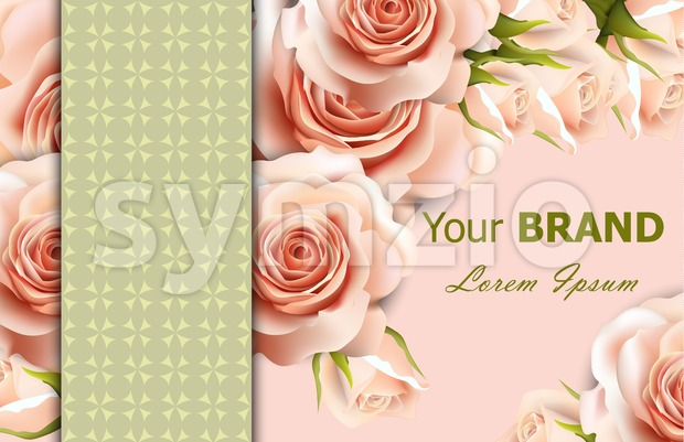 Vector delicate roses floral background. Abstract elements decor. 3d realistic floral design