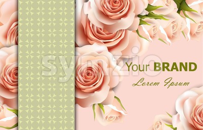 Vector delicate roses floral background. Abstract elements decor. 3d realistic floral design Stock Vector