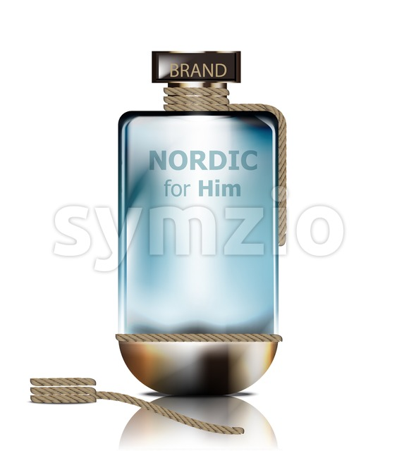 Vector realistic perfume bottle mock up. Product packaging detailed cosmetic Stock Vector
