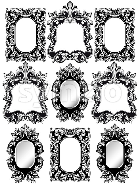Baroque frames set decor. Detailed rich ornamented framework. Vector illustration graphic line art